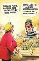 RUDE RISQUE COMIC BAMFORTH UGLY LADY WANTING BUY AVOCADO PEARS POSTCARD - UNUSED