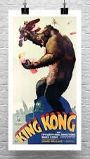 King Kong 1933 Vintage Movie Poster Laminado En Lona Giclee Print 17x30 pulgadas