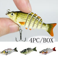 4Pcs/Box Multi Jointed Fishing Lures Bait Bass Crank Minnow Swimbait Life Like