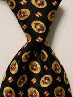 VALENTINO Men's 100% Silk Necktie ITALY Designer Geometric Black/Multi Short EUC