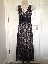Phase Eight Black Lace Cocktail Evening Maxi Dress Size 12 Wedding Prom Cruise