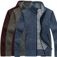 Mens Warm Knitted Sweater Stand Neck Cardigan Zipper Coat Long Sleeve Solid Tops