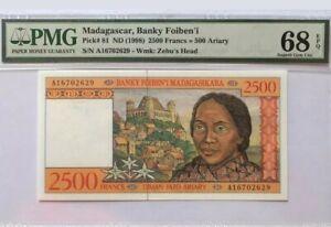 """1998 Madagascar 2500 FRANCS PMG68 EPQ SUPERB GEM UNC <P-81> """"Finest Grade"""" Pre A"""