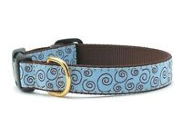 "Up Country Curly-Q Dog Collar Small 5/8""wide Made in USA Brown/ Blue"