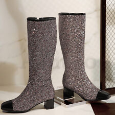 Lady Sparkle Block Heels Knee High Boots Womens Galaxy Bling Sequins Heels Shoes