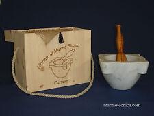 "Mortaio marmo Carrara ""Extra"" 20 cm pestello olivo.Marble mortar olive pestle"