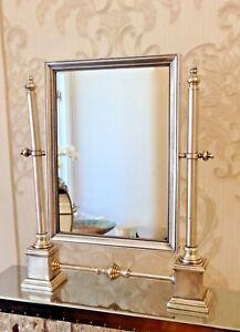 Luxus Standspiegel ANTIK VERSILBERTES MESSING 42cm Schminkspiegel Kippspiegel
