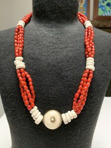 Tibetan Old Himalayan Coral Red Glass Bead (Sherpa Coral) and Shell Necklace