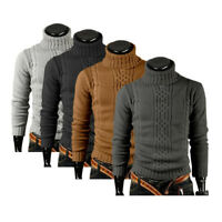 Fashion Pullover Cardigan Sweater Casual Men Coat Turtleneck Knit Slim Fit Tees