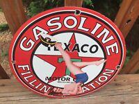 "Vintage Texaco Gasoline Heavy Porcelain Sign 12"" Gas & Oil Sign"