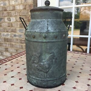 Metal Galvanized Milk Can W/ Lid Jug Rooster Farmhouse Shic