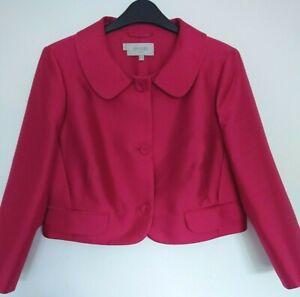 HOBBS Pink Silk & Wool Fitted Jacket Bolero Size 14 3/4 Sleeve Occasion Wedding