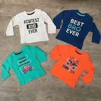 NEW Baby Toddler Boy Slogan Long Sleeve T-Shirt Top Age 0 to 3 Kids