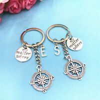 1 PCS Compass BFF Long Distance Relationship No Matter Where Keychain Initial