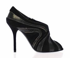 NEW $1000 DOLCE & GABBANA Black Suede Snakeskin Open Toe Pumps Shoes EU41 /US9.5