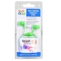 Tech & Go Splash Noise-Isolating Earphones w/Inline Mic ( Green )