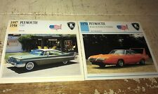 PLYMOUTH FURY & ROADRUNNER SUPERBIRD  Colour Collector Cards x 2