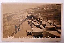"""OLD Real Photo Unused PostCard WWI Navy Ship A MOUNTAIN OF WATER """"OVER THE TOP"""""""