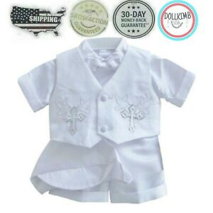 Baby Boy White Christening Wedding Baptism Smart Outfit Suit Formal. WHOLESALE