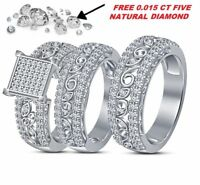 Diamond Wedding 14K White Gold FN His And Her Trio Bridal Engagement Ring Sets