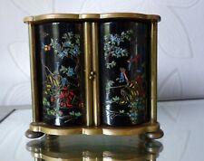 Ancien REVEIL Pendule JAZ LUXE 8 Jours Décor Japonais Bronze or noir France