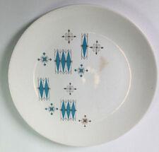 Vintage Mid Century Modern USA White Aqua Diamond Geometric Atomic Dinner Plate