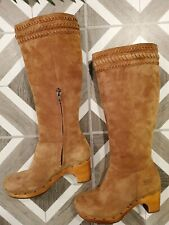 UGG Australia ROSABELLA 1956 Suede Leather Tall Boots Women's US Sz 7 Brown Tan