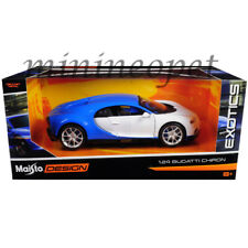 MAISTO 32509 EXOTICS BUGATTI CHIRON 1/24 DIECAST MODEL CAR BLUE / WHITE