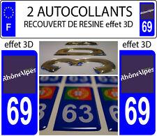 2 adesivi per targa auto TUNING EFFETTO DOMING 3D RESINA RODANO ALPI 69