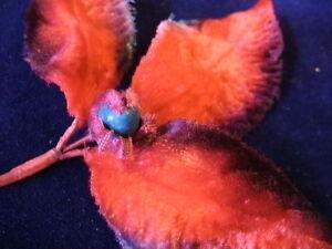 Vintage Millinery Flower Leaf SilkVelvet T11 Red Blue