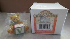 CHERISH TEDDIES TEDDY LETTER V BLOCK NEVER DISPLAYED AND NEW IN BOX