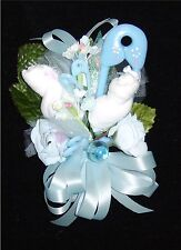 Baby Shower Corsage With  Blue Big Pin Rattle