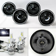"FOUR 5.75"" 5 3/4 Round H4 Blk/Chm Projector Headlights w/ 36W LED H4 Bulbs Chevy"