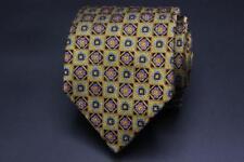 HOLLAND & SHERRY Silk Tie. Golden Brown/Yellow w Purple & Blue Floral Geometric.