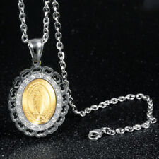 Virgin of Guadalupe CZ Silver Yellow Gold GP Stainless Steel Pendant Necklace