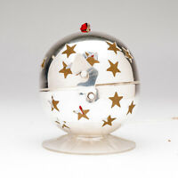 Silver Plated Potpourri Ball with Star-Shaped Holes & Clasp Christmas Ornament