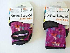 Lot of 2 Smartwool Kids' Hiking Crew Socks -Camping Black/Purple Small Sz 9-11.5