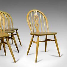Set of Four Mid-Century Modern Dining Chairs, English, Beech, Danish Taste c1960