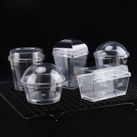 20 x Transparent Cake Ice Cream Cup + Cover Lid Disposable Plastic Container Box