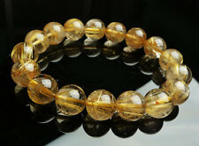 Huge new 13 mm Natural Brazil Gold Rutilated Quartz Crystal Beads Bracelet AAAA