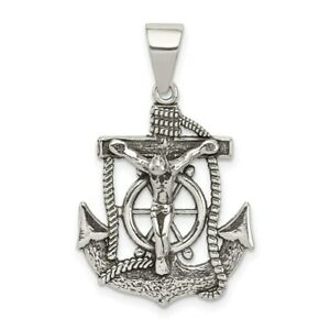 Sterling Silver Antiqued  Mariners INRI Crucifix Cross Charm Pendant 1.27 Inch