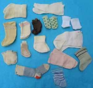 Lot of Vintage Doll Socks Hard Plastic Composition Babies Bisque  Fifteen Pairs