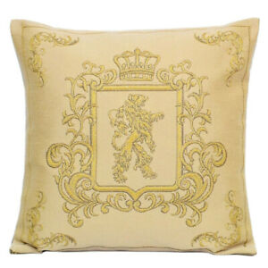 18x18 Royal Monogram Lion Tapestry Pillow, Beige and Gold