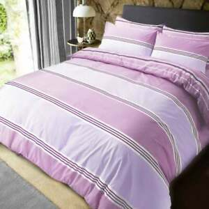 Polycotton Banded Stripe Lilac Double Size Duvet Cover Set With Pillowcases