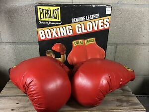 Vintage 1994 Everlast 12 oz. Red Genuine Leather Boxing Gloves USA with Box