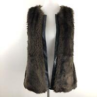 Sanctuary Womens Faux Fur Vest Brown Black Trim Casual size Medium