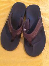 Sanuk Leather Mens Flip-Flop 12  Sandals Shoes Brown Slip On