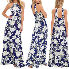 US Women Boho Long Maxi Evening Party Dress Beach Sleeveless Dress Sundress M