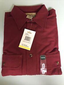New Cabela's Deerskin Soft Chamois Cranberry M Tall  Long Sleeve Button Shirt
