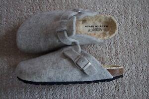 BN Autenti Unisex Wool Felt Shearling Clog/Slippers Grey Birkenstock 7UK